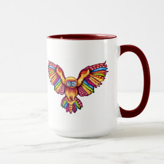 Psychedelic owl in flight with maroon 15 oz Mug