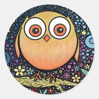 Psychedelic Owl Round Sticker