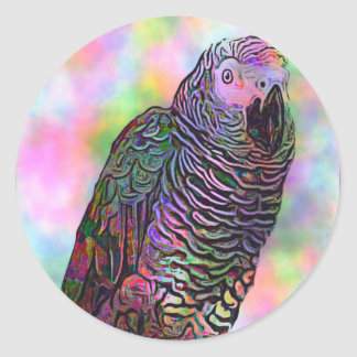 Psychedelic Parrot Classic Round Sticker