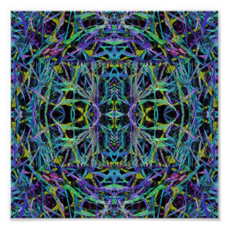 Psychedelic Pattern in Green, Purple and Black Poster
