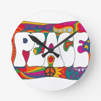Psychedelic Peace and Love Clock