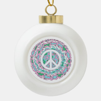 Psychedelic Peace Ceramic Ball Christmas Ornament