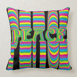 Psychedelic Peace Colorful Throw Pillow