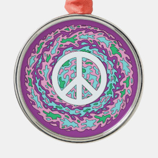 Psychedelic Peace Metal Ornament
