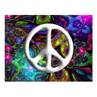 Psychedelic Peace Sign 60s Hippy Chic Postcard