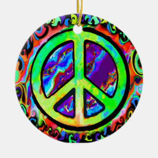 Psychedelic Peace Sign Christmas Ceramic Ornament