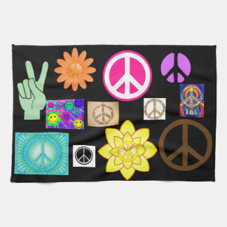 Psychedelic Peace Sign Kitchen Towel