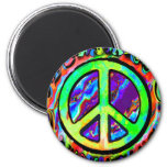 Psychedelic Peace Sign Refrigerator Magnet