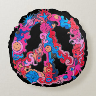 Psychedelic Peace Sign Round Pillow
