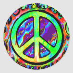 Psychedelic Peace Sign Round Stickers