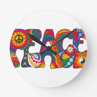 Psychedelic Peace Wall Clocks