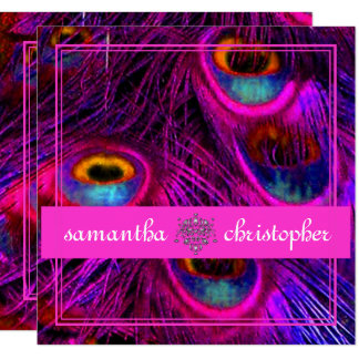 PSYCHEDELIC PEACOCK/ADJUSTABLE HOT PINK BANNER CARD