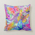 Psychedelic Pink Butterflies Throw Pillow