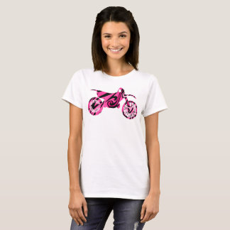 Psychedelic Pink Dirt Bike T Shirt for Girl Bikers