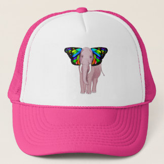 Psychedelic Pink Elephant With Butterfly Ears Cool Trucker Hat