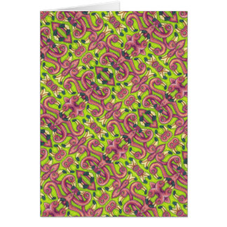 PSYCHEDELIC PINK FLAMINGOS NOTE CARD Blank