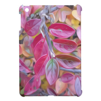 Psychedelic pink leaves iPad mini case