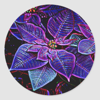Psychedelic Poinsettia Classic Round Sticker