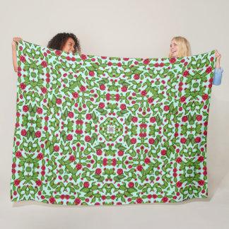 Psychedelic Prickly Pear Cactus Satin Mandala Fleece Blanket