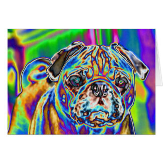 Psychedelic Pug #4 Blank Note Card