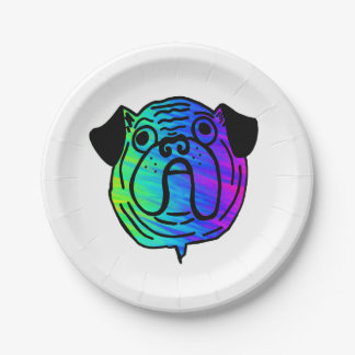 Psychedelic Pug Paper Plates