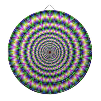 Psychedelic Pulse in Purple and Green  Dartboard