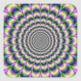 Psychedelic Pulse in Purple and Green Sticker