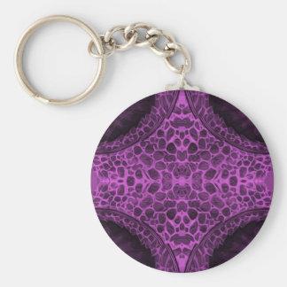 Psychedelic Purple Basic Round Button Keychain