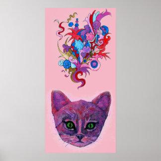 Psychedelic Purple Kitten Poster