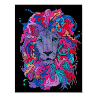 Psychedelic Purple Lion Poster