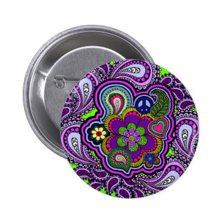 Psychedelic Purple Paisley Button