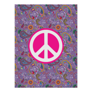 Psychedelic Purple Paisley Poster