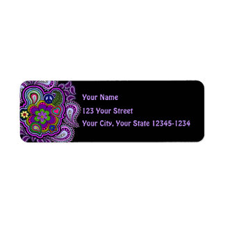 Psychedelic Purple Paisley Return Address Label