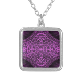 Psychedelic Purple Silver Plated Necklace