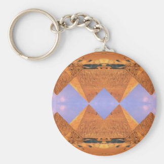 Psychedelic Pyramids Basic Round Button Keychain