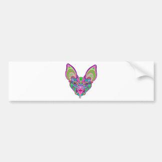Psychedelic rainbow bat bumper sticker