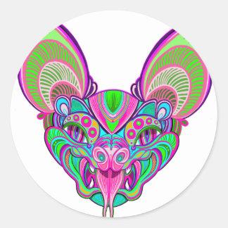 Psychedelic rainbow bat classic round sticker