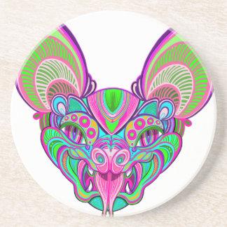 Psychedelic rainbow bat coaster