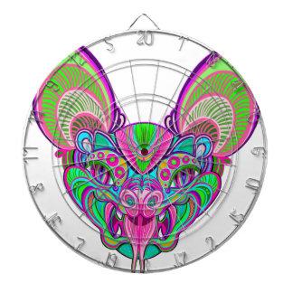 Psychedelic rainbow bat dartboard