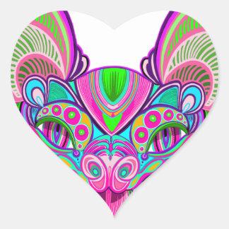 Psychedelic rainbow bat heart sticker