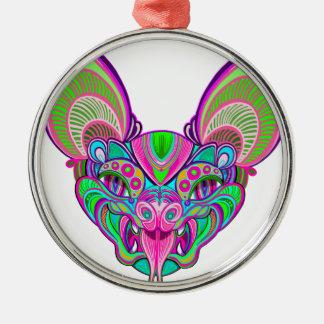 Psychedelic rainbow bat metal ornament