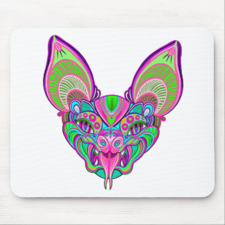Psychedelic rainbow bat mouse pad