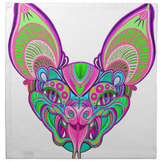 Psychedelic rainbow bat napkin