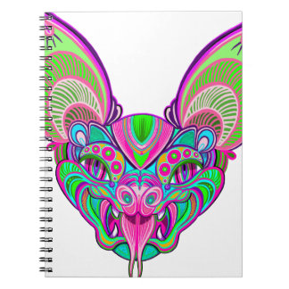 Psychedelic rainbow bat notebook