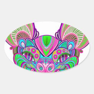 Psychedelic rainbow bat oval sticker