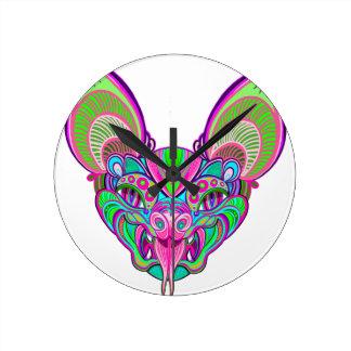 Psychedelic rainbow bat round clock