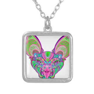 Psychedelic rainbow bat silver plated necklace