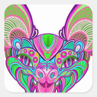 Psychedelic rainbow bat square sticker