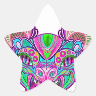 Psychedelic rainbow bat star sticker
