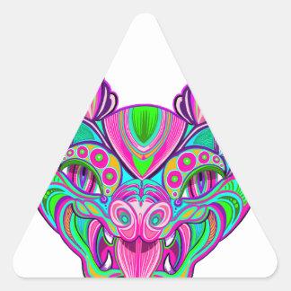 Psychedelic rainbow bat triangle sticker